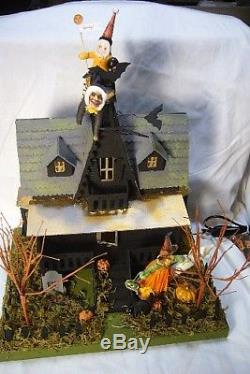 Bethany Lowe Haunted House & Vintage Inspired Spun Cotton Figures includes light