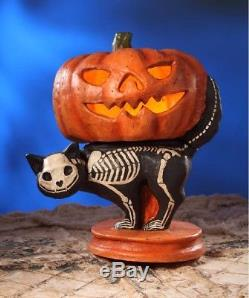Bethany Lowe Pumpkin on Black Skeleton Cat Large Paper Mache Halloween Fun, 21''H