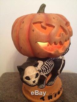 Bethany Lowe Skeleton Cat-retired- Tea Light Included