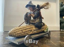 Bethany Lowe Witch Crow Broom Corn Cob Car Very Rareretired