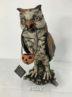 Bethany Lowe by Vergie Lightfoot Owl Container With Jack O' Lantern Halloween