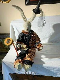 Bethany Lowe rabbit in black and orange pumpkin harliquin outfit