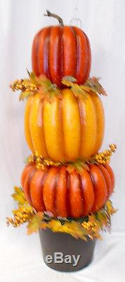 Celebrate Fall Together Pumpkin Topiary Orange Yellow Halloween Fall Decor 35
