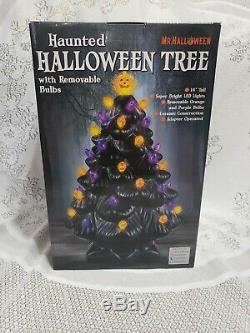 Ceramic Haunted Halloween Light Up Tree NIB