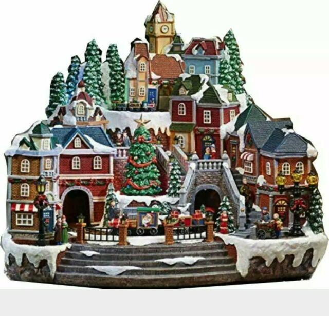 Christmas Village Animated With Lights Music And A Rotating Tree And Train