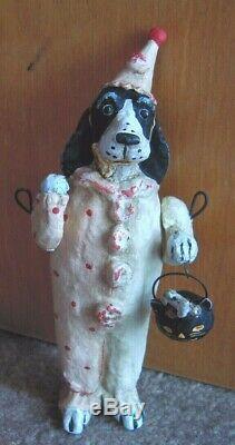 Debbie Thibault Spaniel Dog in Halloween Costume Jack O Lantern with Bone