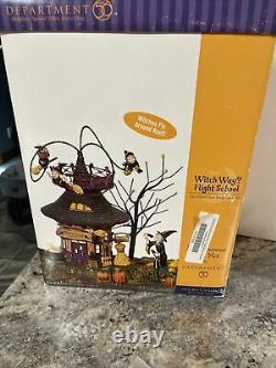 Dept 56 Witch Way Flight School Snow Village Halloween Animated complete MIB