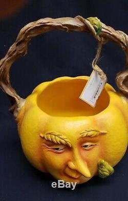 Ellen Gomoll Curious Garden RETIRED Pumpkin Character Basket