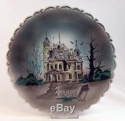 Fenton Art Glass OOAK Opal Satin Plate with Stand, Handpainted Halloween Design