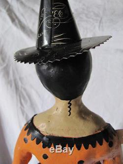 Folk Art Hand Painted Halloween Treat or Treat Cage Doll Witch with Pumpkin & Moon