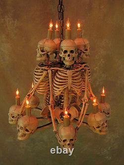 Four Skeleton Chandelier, Halloween Prop, Human Skeletons Skulls, NEW