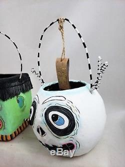 Glitterville Halloween 8 Small Candy Buckets Cat Skull Wolfman Frankenstein