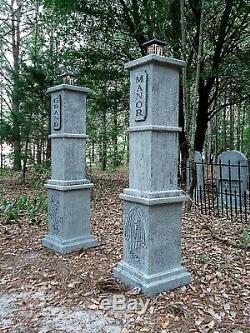 Grand Manor Lighted Gargoyle Cemetery Entrance Columns (Set) Halloween Prop 5' H