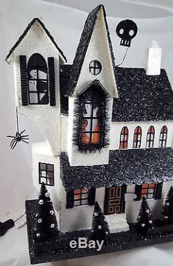 HALLOWEEN HAUNTED HOUSE Gothic Large Vintage-style Paper Board Illuminated UL