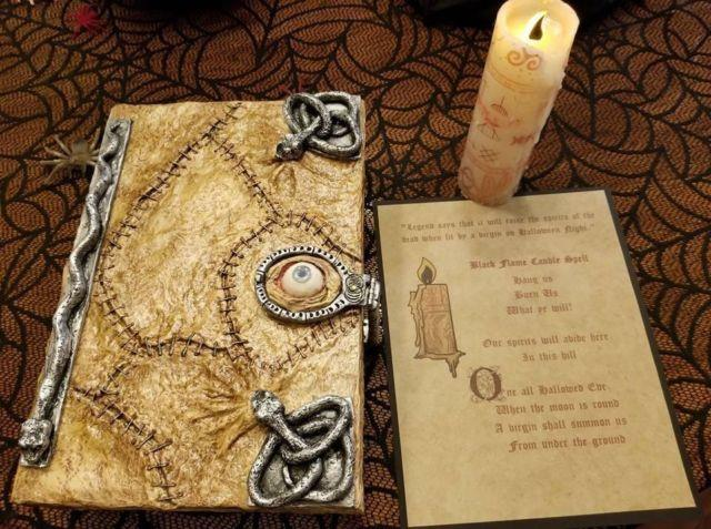 Hocus Pocus Witch Spell Book & Black Flame Candle Inspired Replica Prop Handmade