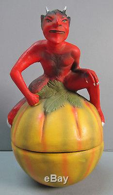 Halloween 177 Marolin Germany 670 Devil On Pumpkin Candy Container 7-1/2 Rare