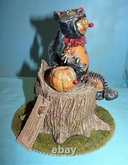Halloween Acorn Cottage Folk Art Candy Container David Bruce 2003