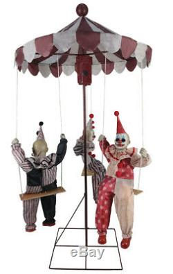 Halloween Animated Clown Go Round LifeSize Prop Haunted Doll Carnival Clircus