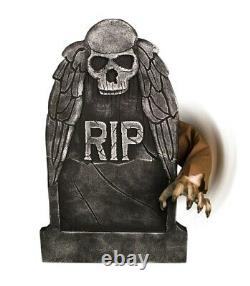 Halloween Animated Reaching Arm Tombstone Cemetary Sounds Prop -haunted House