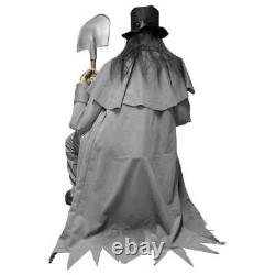 Halloween Animated Speaking Life Size Crouching Grave Digger Light Up Eyes