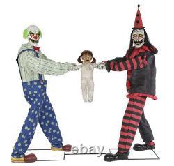 Halloween Animated Tug Of War Clowns Kid LifeSize Prop Haunted Animatronic Decor