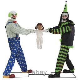 Halloween Animated Tug Of War Clowns Kid Prop LifeSize Haunted House Spirit Yard