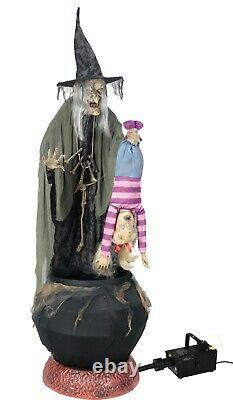 Halloween Animated Witch Brewing Kid Stew & Cauldron Haunted House Light Up Prop