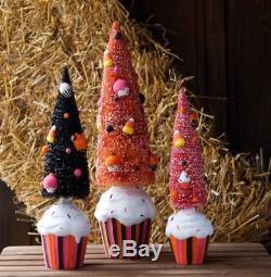 Halloween Black Pink Orange Glitterville Sisal Trees Cupcake Base Set 3 Dept 56