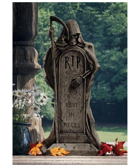 Halloween Cemetery'rest In Pieces' Grim Reaper Tombstone Statue