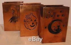 Halloween Copper Candle Luminaries Witch Cat Moon Pumpkin Set of 3 Fall Decor