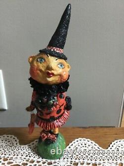 Halloween Debra Schoch 10.5 2004 Moon Witch Black Cat, Pumpkin Purse Signed