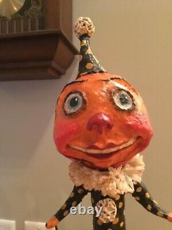 Halloween Debra Schoch Original Pumpkin Character 19 tall 2006 Papier Mache
