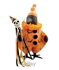 Halloween Fancy Crow Figurine Orange Bat Costume Skull Hat Bethany Lowe TJ5323