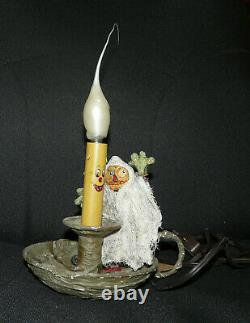Halloween Folk ArtDavid Bruce/Acorn CottagePumpkinman Ghost Toggle Light Lamp