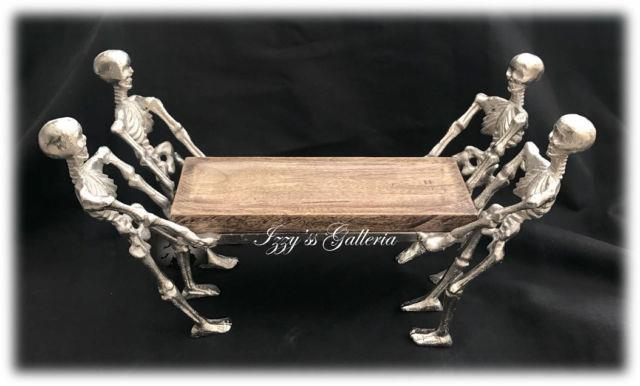 Halloween Heavy Metal Skeletons Walking Dead Holding Wooden Tray Cupcake Stand