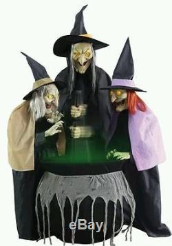 Halloween Life Size Animated 3 Witches Cauldron Prop Decoration Haunted House