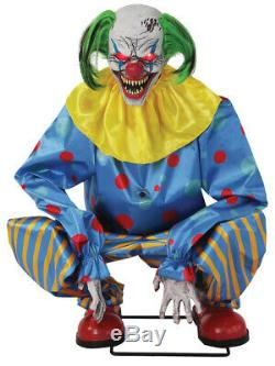 Halloween Life Size Animated Crouching Blue Clown Prop Decoration
