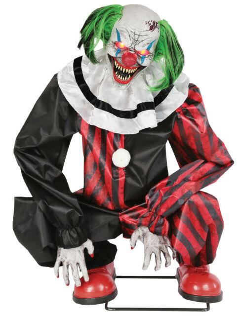 Halloween Life Size Animated Crouching Red Clown Prop Decoration