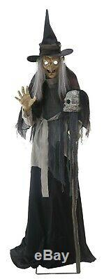 Halloween Life Size Animated Lunging Haggard Witch Haunted House Prop Decoration