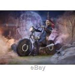 Halloween Life Size Animated Motorcycle Reaper Skeleton Biker Speaks Prop Decor
