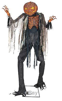 Halloween Life Size Animated Scorched Scarecrow Pumpkin Prop Decor