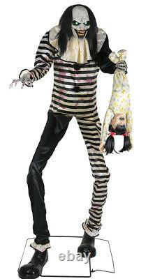 Halloween Life Size Animated Sweet Dreams Clown With Child Prop Cemetary