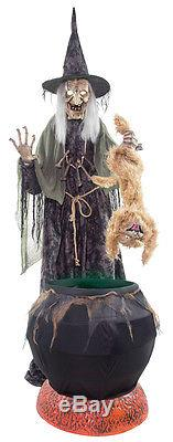 Halloween Life Size Animated Witch Cauldron Rabid Cat Prop Decor Fog Machine