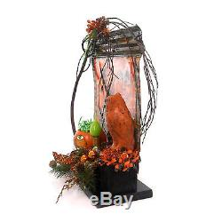 Halloween MOON AND OWL ELECTRIC FIGURINE Metal Lighted Pumpkin Grapevine Ch93