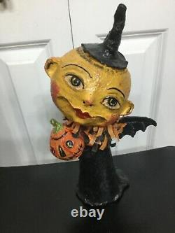 Halloween Moon Bat Girl holding Pumpkin Debra Schoch DMC Retired 12
