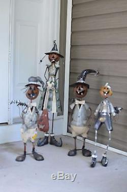Halloween Pumpkin Witch Porch Greeter Metal Halloween Prop Set of 4