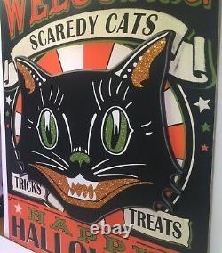 Halloween XXL Retro Beistle Welcome Scaredy Cats Mounted Wood Sign Tricks Treats