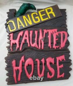Halloween blow mold Haunted House with Frankenstein's Hand & Yellow Moon vintage