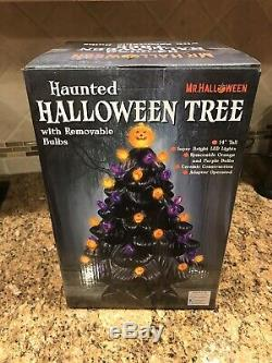 Haunted Halloween Ceramic Tree w Removable Bulbs Mr. Halloween Michaels SOLD OUT