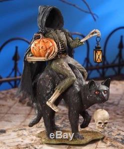 Headless Cat Man Skull Pumpkin Lantern Death Halloween Bethany Lowe TD6024